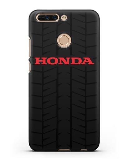 Чехол с логотипом Хонда с протектором шин силикон черный для Honor 8 Pro