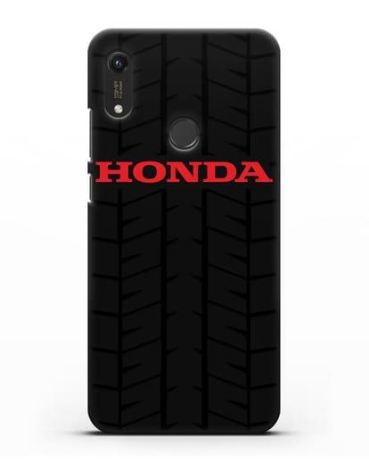 Чехол с логотипом Хонда с протектором шин силикон черный для Honor 8A Prime