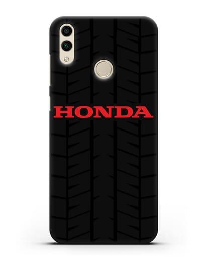 Чехол с логотипом Хонда с протектором шин силикон черный для Honor 8C