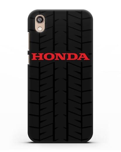 Чехол с логотипом Хонда с протектором шин силикон черный для Honor 8S Prime