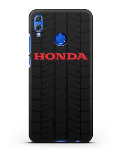Чехол с логотипом Хонда с протектором шин силикон черный для Honor 8X