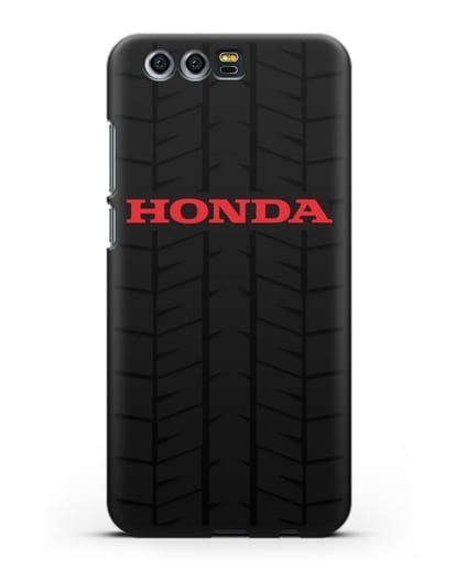 Чехол с логотипом Хонда с протектором шин силикон черный для Honor 9