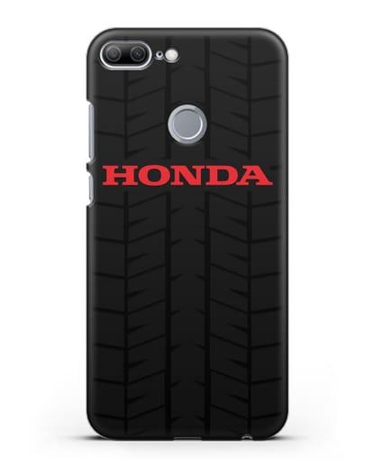 Чехол с логотипом Хонда с протектором шин силикон черный для Honor 9 Lite