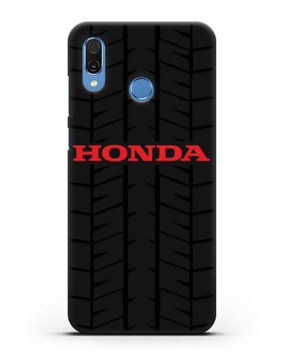 Чехол с логотипом Хонда с протектором шин силикон черный для Honor Play