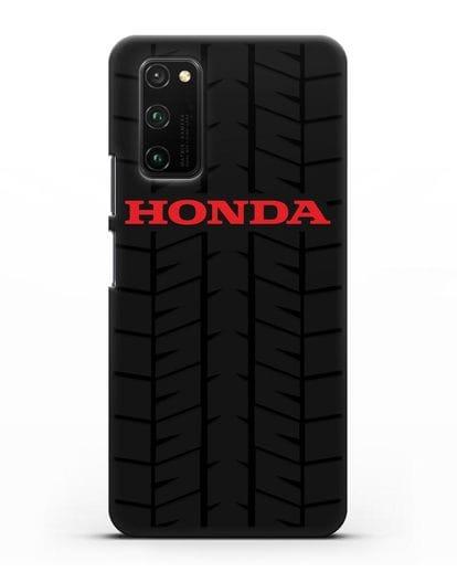 Чехол с логотипом Хонда с протектором шин силикон черный для Honor View 30 Pro