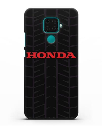 Чехол с логотипом Хонда с протектором шин силикон черный для Huawei Mate 30 Lite
