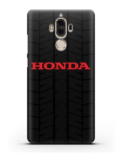 Чехол с логотипом Хонда с протектором шин силикон черный для Huawei Mate 9