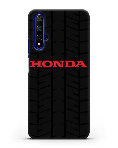 Чехол с логотипом Хонда с протектором шин силикон черный для Huawei Nova 5T