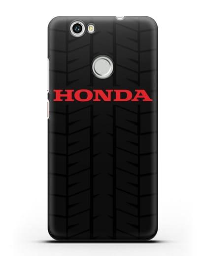 Чехол с логотипом Хонда с протектором шин силикон черный для Huawei Nova