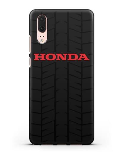 Чехол с логотипом Хонда с протектором шин силикон черный для Huawei P20