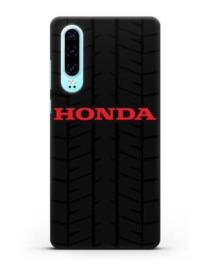 Чехол с логотипом Хонда с протектором шин силикон черный для Huawei P30