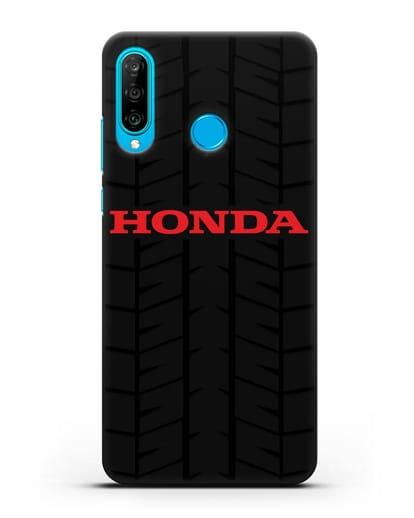 Чехол с логотипом Хонда с протектором шин силикон черный для Huawei P30 Lite