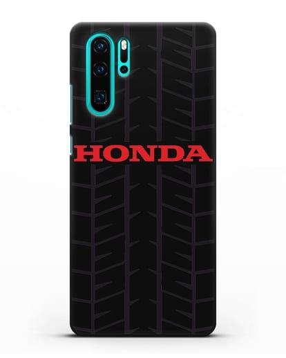 Чехол с логотипом Хонда с протектором шин силикон черный для Huawei P30 Pro