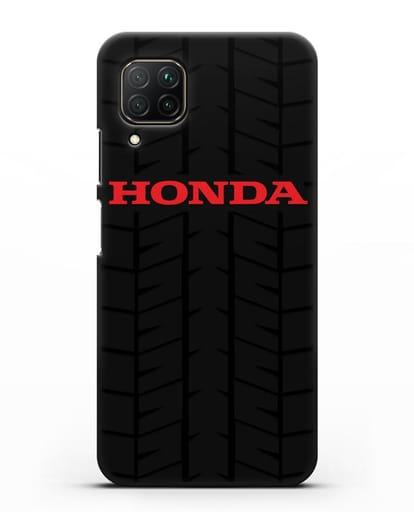Чехол с логотипом Хонда с протектором шин силикон черный для Huawei P40 lite