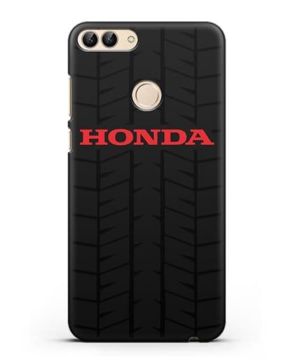Чехол с логотипом Хонда с протектором шин силикон черный для Huawei P Smart