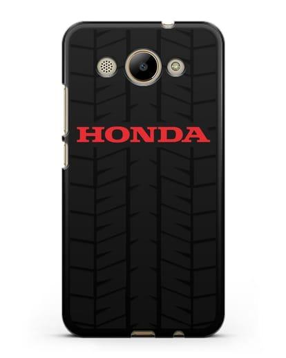 Чехол с логотипом Хонда с протектором шин силикон черный для Huawei Y3 2017