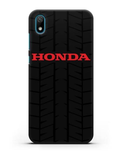Чехол с логотипом Хонда с протектором шин силикон черный для Huawei Y5 2019