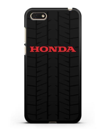 Чехол с логотипом Хонда с протектором шин силикон черный для Huawei Y5 Prime 2018