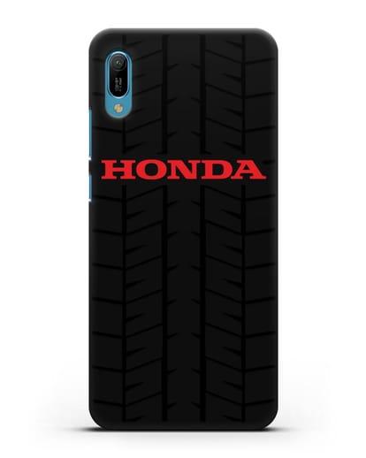 Чехол с логотипом Хонда с протектором шин силикон черный для Huawei Y6 2019