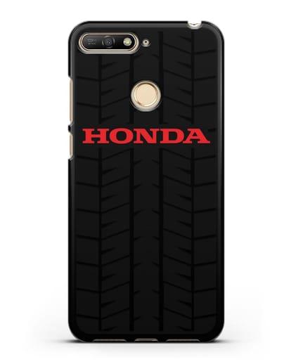 Чехол с логотипом Хонда с протектором шин силикон черный для Huawei Y6 Prime 2018