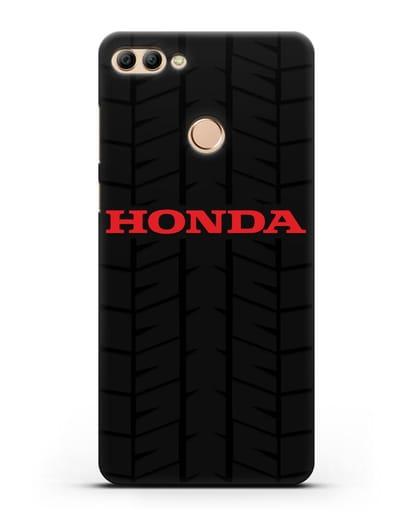 Чехол с логотипом Хонда с протектором шин силикон черный для Huawei Y9 2018