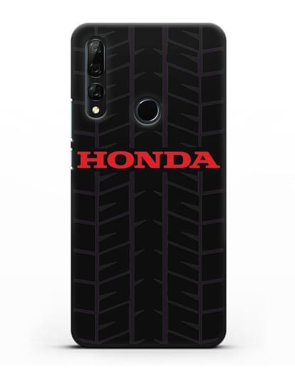 Чехол с логотипом Хонда с протектором шин силикон черный для Huawei Y9 Prime 2019