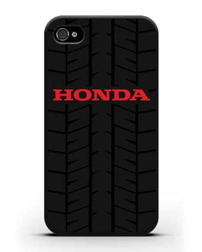 Чехол с логотипом Хонда с протектором шин силикон черный для iPhone 4/4s