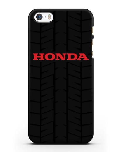 Чехол с логотипом Хонда с протектором шин силикон черный для iPhone 5/5s/SE