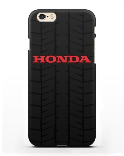 Чехол с логотипом Хонда с протектором шин силикон черный для iPhone 6
