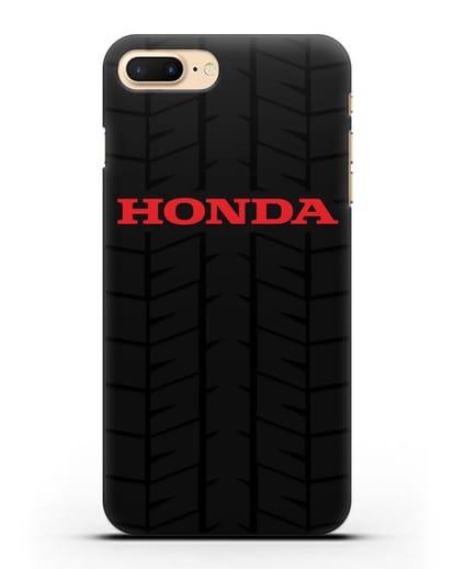 Чехол с логотипом Хонда с протектором шин силикон черный для iPhone 8 Plus