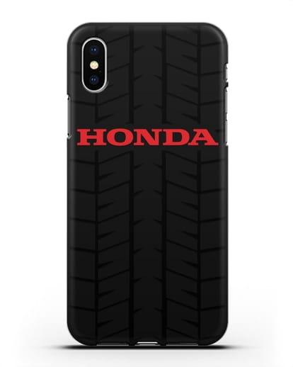 Чехол с логотипом Хонда с протектором шин силикон черный для iPhone XS