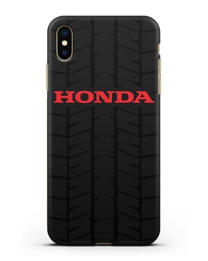 Чехол с логотипом Хонда с протектором шин силикон черный для iPhone XS Max