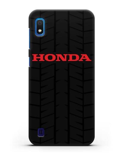 Чехол с логотипом Хонда с протектором шин силикон черный для Samsung Galaxy A10 [SM-A105F]