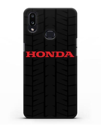 Чехол с логотипом Хонда с протектором шин силикон черный для Samsung Galaxy A10s [SM-F107F]