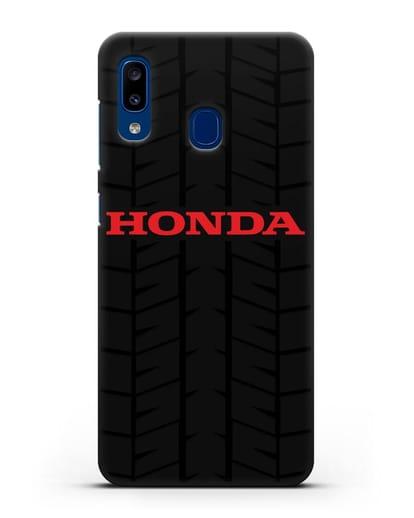 Чехол с логотипом Хонда с протектором шин силикон черный для Samsung Galaxy A20 [SM-A205FN]