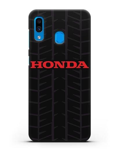 Чехол с логотипом Хонда с протектором шин силикон черный для Samsung Galaxy A30 [SM-A305FN]