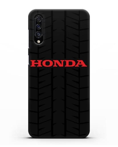 Чехол с логотипом Хонда с протектором шин силикон черный для Samsung Galaxy A30s [SM-A307FN]