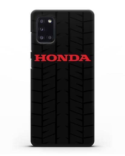 Чехол с логотипом Хонда с протектором шин силикон черный для Samsung Galaxy A31 [SM-A315F]