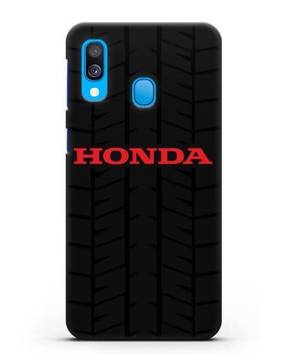 Чехол с логотипом Хонда с протектором шин силикон черный для Samsung Galaxy A40 [SM-A405F]