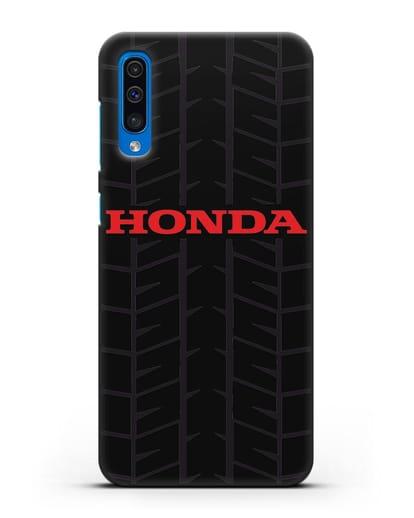 Чехол с логотипом Хонда с протектором шин силикон черный для Samsung Galaxy A50 [SM-A505F]