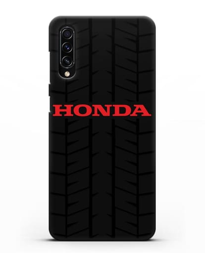 Чехол с логотипом Хонда с протектором шин силикон черный для Samsung Galaxy A70s [SM-A707F]