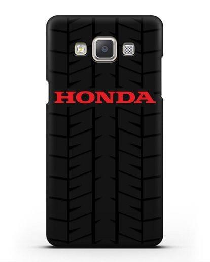 Чехол с логотипом Хонда с протектором шин силикон черный для Samsung Galaxy A7 2015 [SM-A700F]