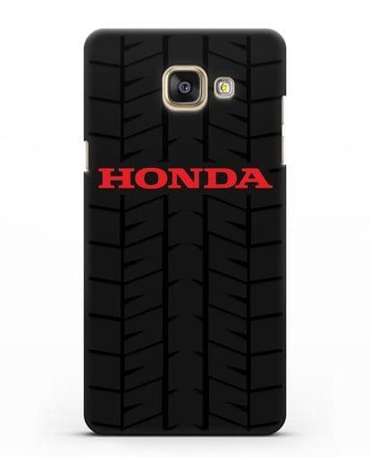 Чехол с логотипом Хонда с протектором шин силикон черный для Samsung Galaxy A7 2016 [SM-A710F]
