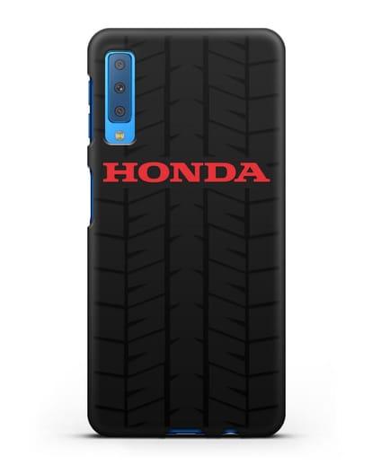 Чехол с логотипом Хонда с протектором шин силикон черный для Samsung Galaxy A7 2018 [SM-A750F]