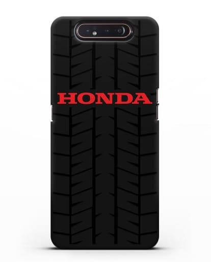 Чехол с логотипом Хонда с протектором шин силикон черный для Samsung Galaxy A80 [SM-A805F]