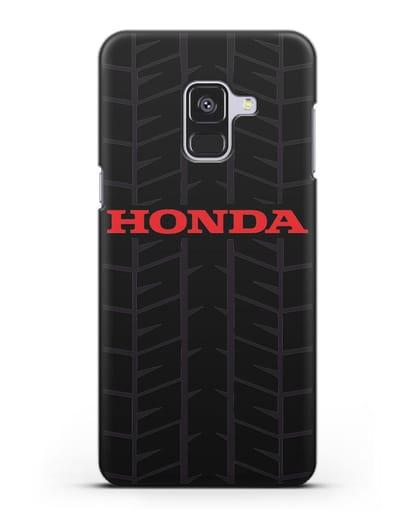 Чехол с логотипом Хонда с протектором шин силикон черный для Samsung Galaxy A8 [SM-A530F]