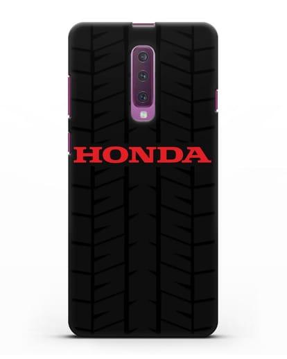 Чехол с логотипом Хонда с протектором шин силикон черный для Samsung Galaxy A90 [SM-A908N]