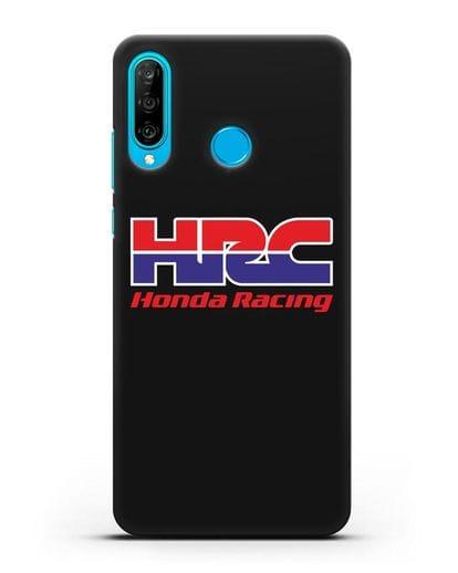 Чехол с надписью Honda Racing силикон черный для Huawei P30 Lite