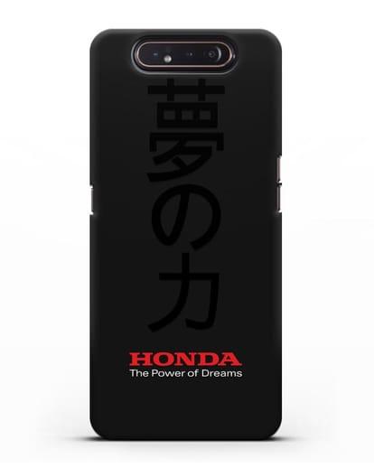 Чехол с надписью Honda и иероглифами силикон черный для Samsung Galaxy A80 [SM-A805F]