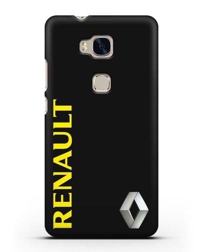 Чехол с надписью Renault и логотипом силикон черный для Honor 5X